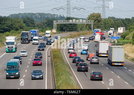 German highway with cars and trucs near city Eschweiler - Stock Photo