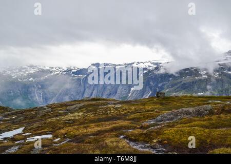 Hike starts from town called Odda. Trolltunga hike, Lake Ringedalsvatnet, Norway, Beautiful scandinavian landscape, Scandianavia, summer nature. - Stock Photo