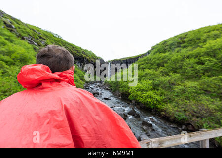 Svartifoss waterfall with basalt columns in Skaftafell, Iceland in green summer rocky landscape with tourist man standing in red poncho closeup on bri - Stock Photo