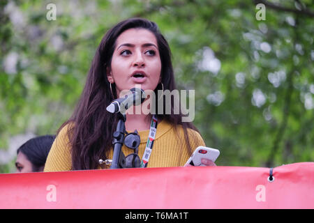 Aliya Yule of Labour For A Green New Deal addresses rally as MPs endorse motion to declare a formal climate emergency. - Stock Photo
