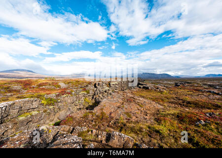 Thingvellir National Park autumn plants during day landscape on top peak of canyon trail in Iceland Golden circle route with rocks - Stock Photo