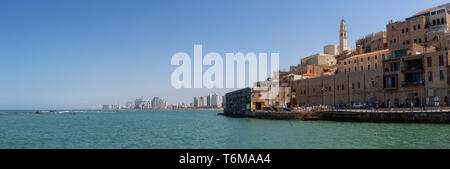 Tel Aviv, Israel - April 3, 2019: Beautiful panoramic view of a Port of Jaffa during a sunny day.