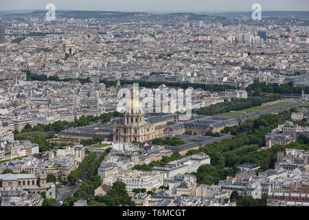 Panorama of Paris with Aerial view at Dome des Invalides - Stock Photo