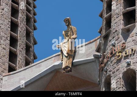 Detail of Gaudi's Sagrada Familia in Barcelona, Spain - Stock Photo