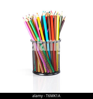 Colorful pencils in a black basket over a white background - Stock Photo
