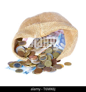 Money bag with coins and banknotes isolated over white - Stock Photo