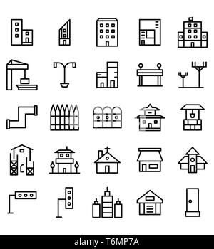 Set of Building and real estate city vector illustration icon or symbol. Editable stroke and color - Stock Photo