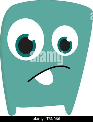 A blue sad monster looking sad with its large eyes vector color drawing or illustration - Stock Photo