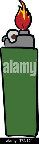 A green lighter with grey top giving out red hot flame vector color drawing or illustration - Stock Photo