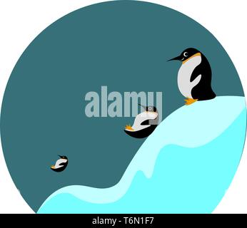 Cartoon picture of three penguins sliding and playing in the ice looks beautiful  vector  color drawing or illustration - Stock Photo