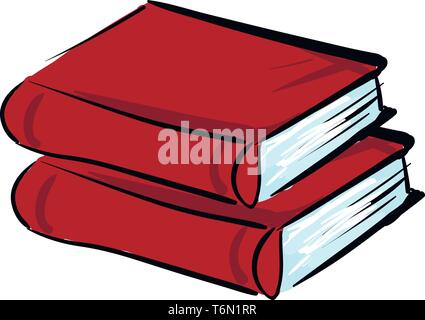 Clipart of two red books with a large number of pages are stacked one above the other over a table  vector  color drawing or illustration - Stock Photo