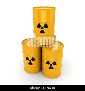 3D rendering radioactive barrels - Stock Photo