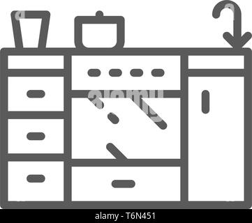 Vector cooker, furniture for kitchen line icon. - Stock Photo