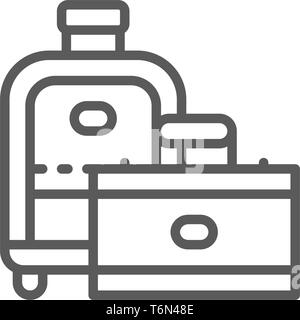 Travel bags, suitcase line icon. Isolated on white background - Stock Photo