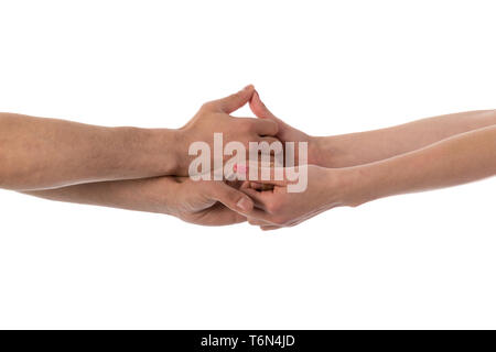 Four hands holding each other isolated over white - Stock Photo
