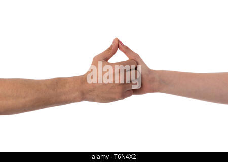 Two hands holding each other isolated over white - Stock Photo