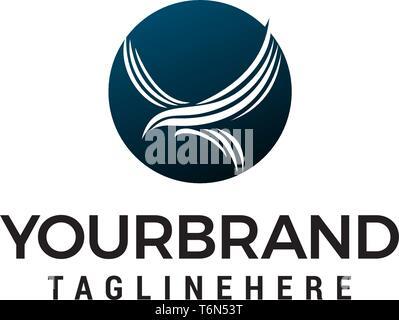 eagle fly in circle logo design concept template vector - Stock Photo
