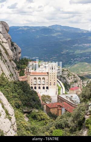 Aerial view of Montserrat monastery in Spain
