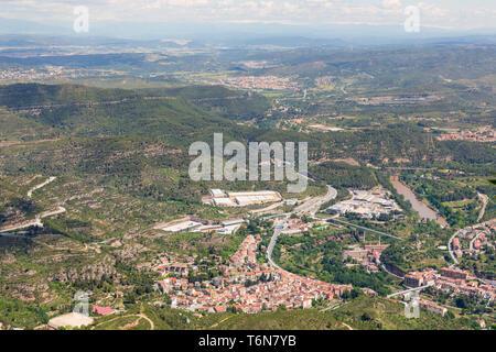 Aerial view at small Spanish village near Montserrat in Catalonia - Stock Photo