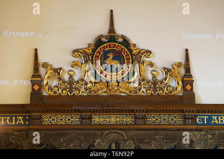 Toronto, Canada - 20 10 2018: Part of decoration of the Strachan Hall, the largest component of the western wing of the University of Toronto Trinity - Stock Photo
