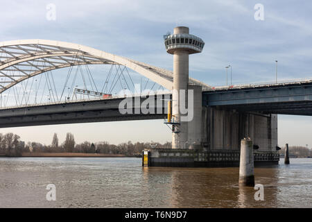 Bridge over river Lek in the Netherlands - Stock Photo