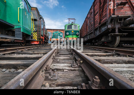 Old locomotives in the transport museum - Stock Photo