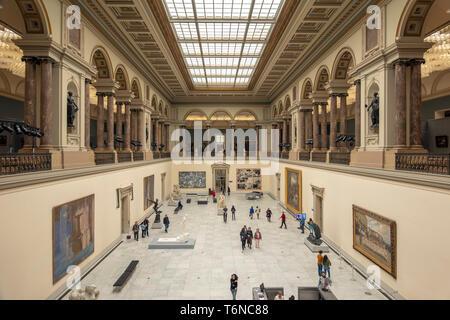 Royal Museums of Fine Arts of Belgium Interior, Musées Royaux des Beaux-Arts de Belgique, Koninklijke Musea voor Schone Kunsten van België main hall. - Stock Photo