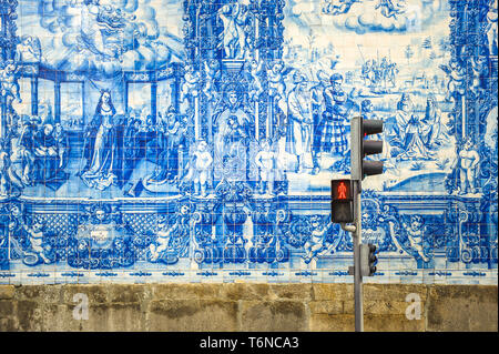 Street of Porto, decorated with azulejos tiles - Stock Photo
