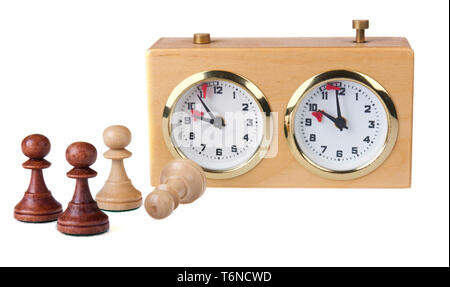 Chess clock with chess pieces isolated on white - Stock Photo