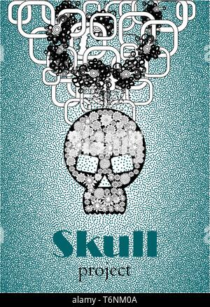Skull in floral style your concept design. - Stock Photo