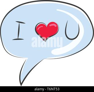 Clipart of a round shape speech bubble balloon usually found next to the head of a character in a cartoon in which the words written as I LOVE YOU  ve - Stock Photo