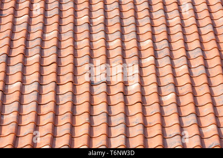 Orange roof tiles background - Stock Photo