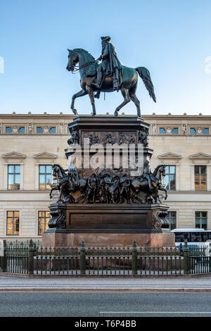 Frederick the Great, Friedrich des Grossen bronze equestrian statue by sculptor, Christian Daniel Rauch in Unter den Linden, Berlin - Stock Photo