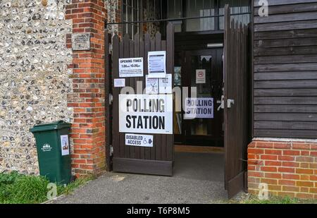 Brighton UK 2nd May 2019 - West Blatchington Windmill being used as the polling station for the Hove Constituency of Hangleton & Knoll Ward in Brighton and Hove today . Credit: Simon Dack / Alamy Live News - Stock Photo
