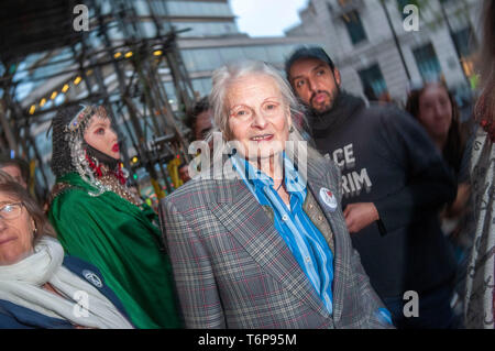 London, UK. 01st May, 2019. Fashion designer and activist Vivienne Westwood at the  Extinction Rebellion 'Carn-evil of Chaos' Fashion Parade at the Brazillian Embassy to show solidarity with the people of Brazil and their eco system. - Stock Photo