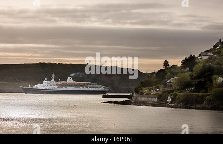 Crosshaven, Cork, Ireland. 02nd May, 2019. On her way to visit the historic town of Cobh cruise ship Marco Polo passes Camden in the coastal village of Crosshaven, Co. Cork, Ireland. Credit: David Creedon/Alamy Live News - Stock Photo