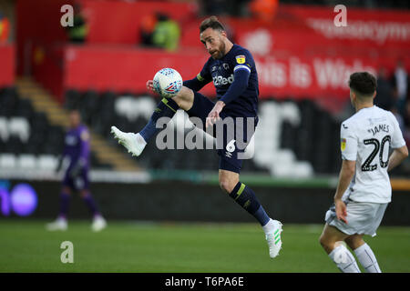 Swansea, UK. 01st May, 2019. Richard Keogh, the Derby County captain in action. EFL Skybet championship match, Swansea city v Derby County at the Liberty Stadium in Swansea, South Wales on Wed 1st May 2019. this image may only be used for Editorial purposes. Editorial use only, license required for commercial use. No use in betting, games or a single club/league/player publications. pic by Andrew Orchard/Andrew Orchard sports photography/Alamy Live news Credit: Andrew Orchard sports photography/Alamy Live News - Stock Photo