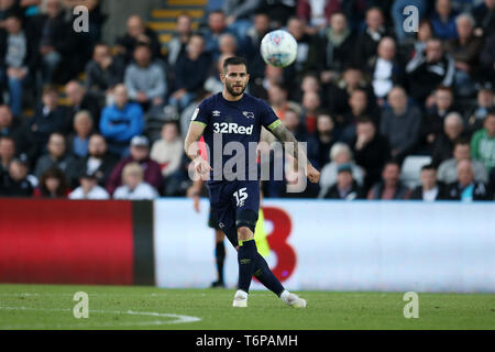 Swansea, UK. 01st May, 2019. Bradley Johnson of Derby County in action. EFL Skybet championship match, Swansea city v Derby County at the Liberty Stadium in Swansea, South Wales on Wed 1st May 2019. this image may only be used for Editorial purposes. Editorial use only, license required for commercial use. No use in betting, games or a single club/league/player publications. pic by Andrew Orchard/Andrew Orchard sports photography/Alamy Live news Credit: Andrew Orchard sports photography/Alamy Live News - Stock Photo