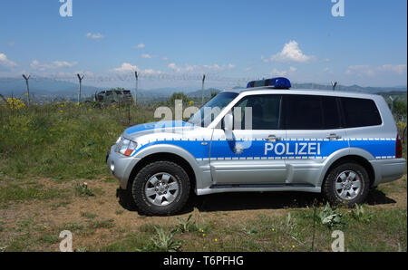 Thessaloniki, Greece. 02nd May, 2019. A German police vehicle in action for the EU border protection organisation Frontex at the border fence between Greece and Northern Macedonia. North Rhine-Westphalia's Interior Minister Reul visited North Rhine-Westphalian police officers who, as part of the EU border protection agency Frontex, are helping to secure the Greek border with northern Macedonia. The main aim of the officials is to prevent refugees and migrants from illegally arriving in Central Europe from Northern Macedonia. Credit: Alexia Angelopoulou/dpa/Alamy Live News - Stock Photo