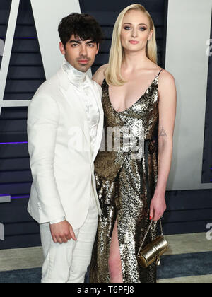 (FILE) 2nd May 2019. Joe Jonas and Sophie Turner get married in surprise Vegas ceremony. Photo taken: BEVERLY HILLS, LOS ANGELES, CA, USA - FEBRUARY 24: Joe Jonas and girlfriend/actress Sophie Turner arrive at the 2019 Vanity Fair Oscar Party held at the Wallis Annenberg Center for the Performing Arts on February 24, 2019 in Beverly Hills, Los Angeles, California, United States. (Photo by Xavier Collin/Image Press Agency) Credit: Image Press Agency/Alamy Live News - Stock Photo