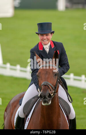 Badminton, Gloucestershire, United Kingdom, 2nd May 2019, Piggy French riding Vanir Kamira during the Dressage Phase of the 2019 Mitsubishi Motors Badminton Horse Trials, Jonathan Clarke/Alamy Live News - Stock Photo