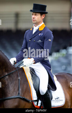Badminton, UK. 2nd May 2019. Christopher Burton. AUS. Graf Liberty. Score 27.7. Dressage. Mitsubishi Motors Badminton Horse Trials. Rolex Grand Slam Event. Horse Trials. Eventing. Badminton. Gloucestershire. United Kingdom. GBR. 02/05/2019. Credit: Sport In Pictures/Alamy Live News - Stock Photo