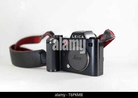Bangkok, Thailand - 13 Jul, 2018: Leica SL; the professional mirrorless fullframe camera 35mm CMOS Sensor by Leica Germany from 2015 in name Leica SL. - Stock Photo