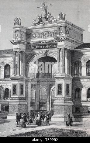 Gate of the Exposition Universelle of 1855, International Exhibition, Champs-Elysees Paris, historical illustration, France - Stock Photo
