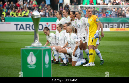 Cologne, Germany May1 2019, women football cup final, VFL Wolfsburg vs SC Freiburg: Team Wolfsburg.     DFB REGULATIONS PROHIBIT ANY USE OF PHOTOGRAPH - Stock Photo