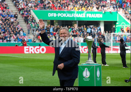 Cologne, Germany May1 2019, women football cup final, VFL Wolfsburg vs SC Freiburg: Horst Hrubesch with trophy.    DFB REGULATIONS PROHIBIT ANY USE OF - Stock Photo