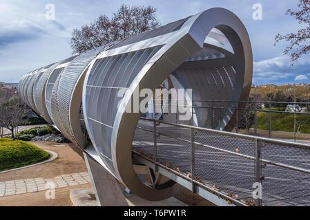 Arganzuela footbridge over Manzanares River in Madrid Rio recreational area in Madrid, Spain - Stock Photo