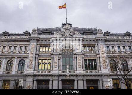 Bank of Spain head office building in Madrid, Spain - Stock Photo