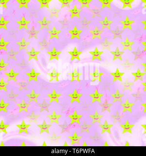 Stars pattern in pink pastel background. Kids colorful design for textile, card, web, interior and other design. - Stock Photo