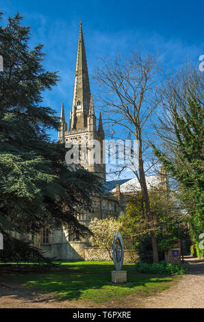 Norwich Cathedral in Norwich city centre, Norfolk, East Anglia, England, UK. - Stock Photo